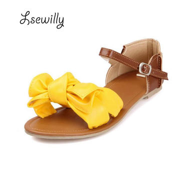 2016 New Arrival Big Size 31-45!!! Colorful Fashion Summer Sweet Women Flat Sandals Casual Butterfly-knot Woman Shoes P813