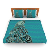 "Brienne Jepkema ""Peacock Blue II"" Teal Green Lightweight Duvet Cover"