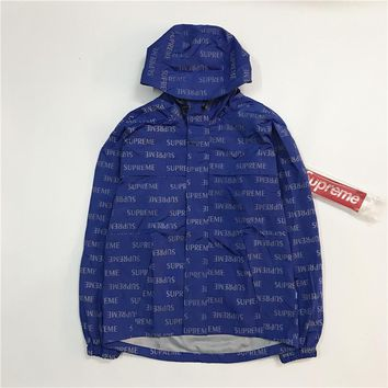 SUPREME 16FW English 3M Blue Windbreaker Jacket S-XL