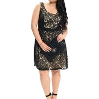 Beige/Black Dinner Date Lace Overlay Sleeveless Dress | $11.50 | Cheap Trendy Casual Dresses Chic Di