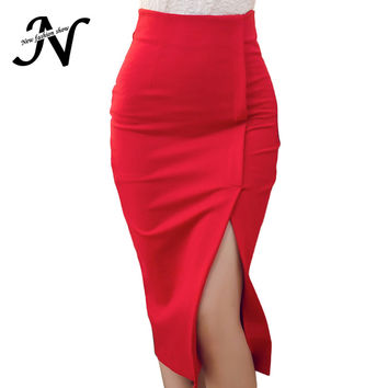 Skirts Women 2016 Autumn Winter High Waist Midi Lenght Tight Skirt Red Black Slit Bodycon Pencil Skirts Elegant Womens Office