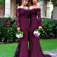 Mermaid Long Sleeves Bridesmaid Dresses 2017 Wine Red Formal Wedding Party Gowns Brides Maid Dress Custom Made Sexy Off Shoulder