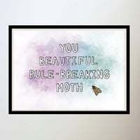 Leslie Knope Parks and Rec - 'You beautiful rule-breaking moth' - A4 or A3 size physical print