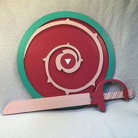 Rose Quartz Shield and Sword Set