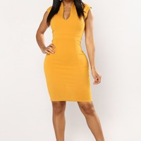 Drop Of A Dime Midi Dress - Mustard