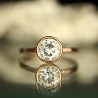 6.5mm Forever Brilliant Moissanite 14K Rose Gold Engagement Ring, Stacking Ring - Made To Order