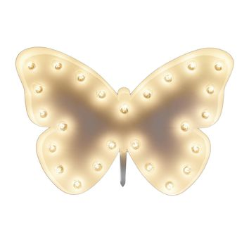 Butterfly Vintage Marquee Lights Sign (White Finish)