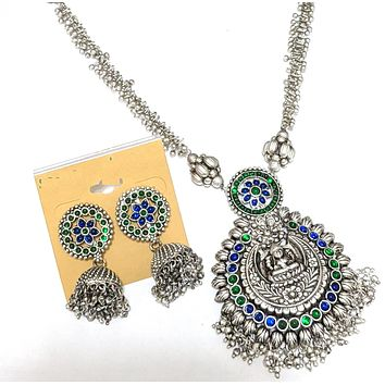 Goddess Lakshmi Pendant silver matte finish chain necklace and jhumka earring set with kemp stone - Design 1