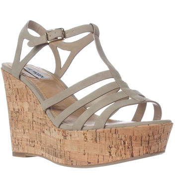 Steve Madden Nalla Wedge Strappy Sandals, Taupe, 10 US