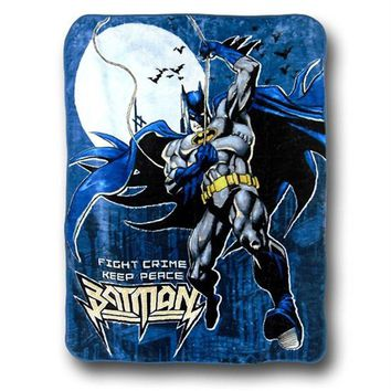 "Licensed Batman Fight Crime Twin Size Plush Raschel Blanket New 60""x80"""