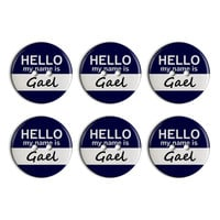Gael Hello My Name Is Plastic Resin Button Set of 6