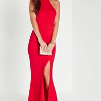 Missguided - Choker Maxi Dress Red