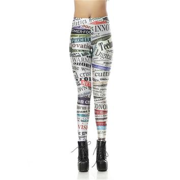 Magazine Women's White Slim High Waisted Elastic Printed Fitness Workout Leggings