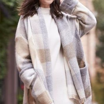 Melissa Nepton Plaid Blanket Coat in Neutral Motif Size: