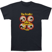 Beatles Men's  Yellow Sub Hand Waves T-shirt Black