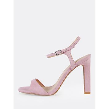 Ankle Strap Single Sole Sandal Heels LILAC