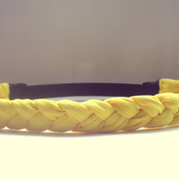 Thick Bright Yellow Braided Headband Hippie Headband Womens Hair Accessories Elastic Headband