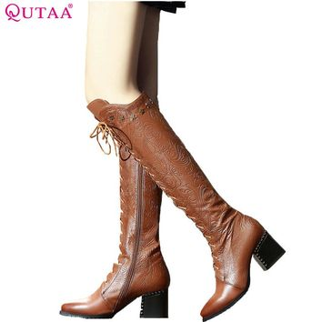 QUTAA 2018 Women Over The Knee High Boots Cow Leather Fashion Lace Up Pointed Toe All Match Women Motorcycle Boots Size  34-39