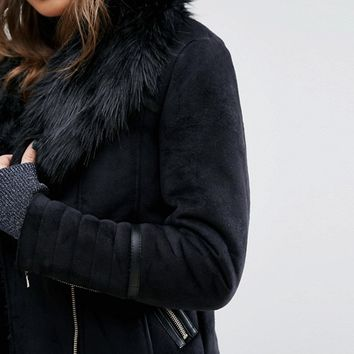 Miss Selfridge Faux Shearling Jacket at asos.com