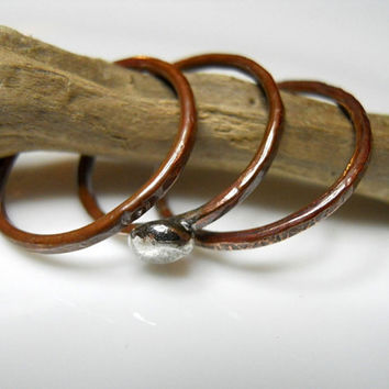 Copper and Sterling Silver Skinny Stacking Rings, Textured Stackers, Tribal Rings, Thin Band Rings, Hand Stamped Rings, Boho Ring Set