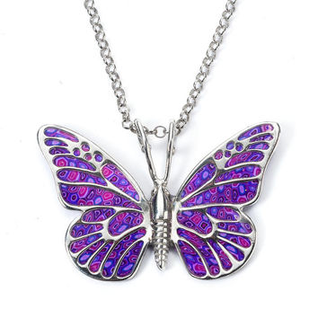 Purple Butterfly Pendant Necklace - Animal Jewelry - Polymer Clay - Millefiori Pattern - FREE SHIPPING