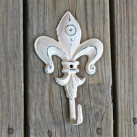 Fleur De Lis Wall Hook /Ivory /Shabby Chic Decor /Painted Ornate Hanger /Metal Key Holder /Bathroom Fixture /Bedroom /Mud Room Rack /Nursery