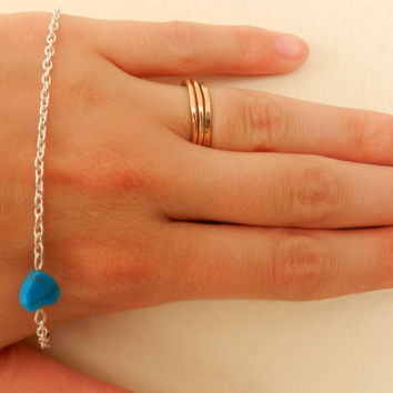 Delicate cute heart turquoise heart plated silver chain bracelet turquoise bead hippie chic silver bracelet thin friendship bracelet