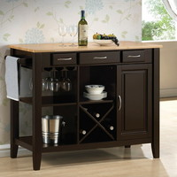 910028 Chefs helper espresso finish wood and natural finish top kitchen island cart 3 drawers and cabinet