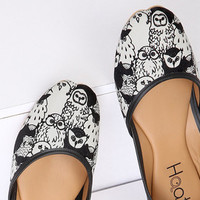 Women's vegan ballet flats | Quirky hand-illustrated owl print | Wearable art slip on shoes | Cruelty free fashion