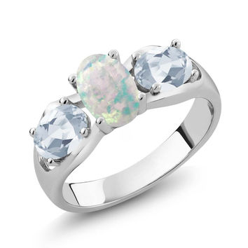 1.63 Ct Oval White Simulated Opal Sky Blue Topaz 925 Sterling Silver Ring