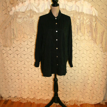 Plus Size Black Shirt Long Sleeve Blouse Long Loose Fit Button Up Black Blouse Oversized Tencel Size 20 Size 22 2X 3X Womens Clothing