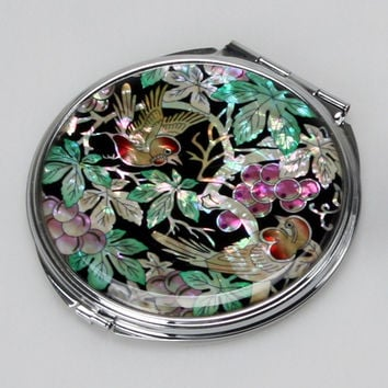 Mother of Pearl Bird Grape Green Leaf Magnifying Double Compact Cosmetic Makeup Folding Handbag Purse Beauty Pocket Hand Mirror