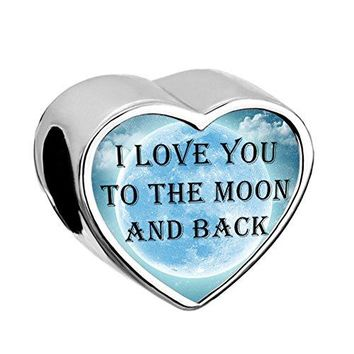 LovelyJewelry Heart I Love You To The Moon and Back Charms Moon Star Bead For Bracelets