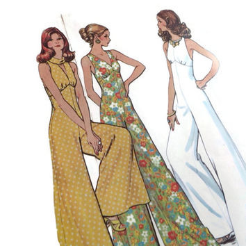 Vintage McCall  Jumpsuit Sewing Pattern, Printed 1973  Size 14 Bust 36 Unused Uncut Mid Century Fashion, Glamour
