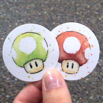 Mario Mushroom STICKERS; Green 1UP and Red; Durable Vinyl Weatherproof; Set of 2 Stickers