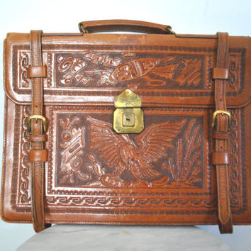 Tooled Leather Briefcase / laptop bag / unisex