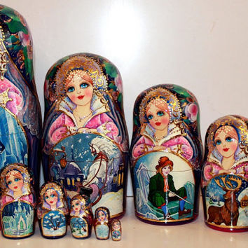 FREE SHIPPING Nesting Doll 10pcs 10 inchMatryoshka  Russian doll  Russian matryoshka doll, Nested doll, Matrioshka, Matroschka – Snow Queen