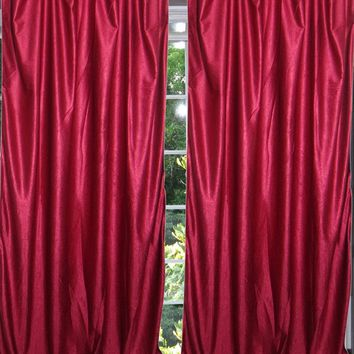 "Mogul Indian Sari Curtains Maroon Tab Top Drape / Panel- Pair Window Treatment Ideas (Size: Length: 96"".) ..."