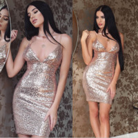 Hot sale sexy straps sequins show thin  dress