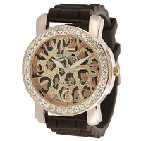 Women's Rhinestone Accented Cheetah Print Watch Color: Brown and Copper