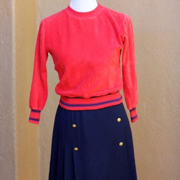 Vtg Velour Terrycloth cropped sweater Red crew neck navy accents Size Small XS 3/4 long sleeves cute short