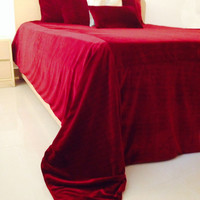 Luxury Dark Red Bedspread 5 Pillow Cover -Couture Luxe Velvet Bedding Set -King Bedspread -Coverlet and Pillows -Gift -Valentine -Christmas