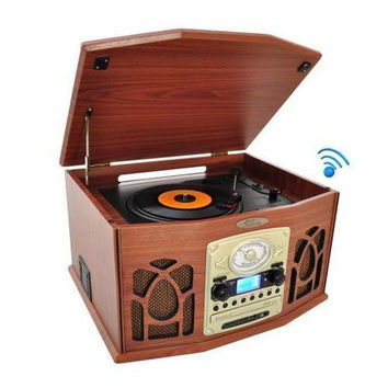 Vintage Classic-Style Bluetooth Turntable Record Player with Vinyl-to-MP3 Recording Ability, CD Player, AM/FM Radio