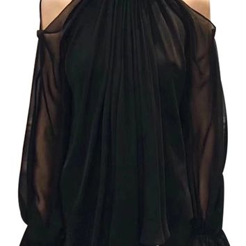 Taking Your Side Black Chiffon Long Lantern Sleeve Cut Out Cold Shoulder Ruffle Tie V Neck Blouse Top