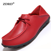 2016 New Autumn Women Flats Creepers Shoes Women Genuine Leather Oxfords Shoes Moccasins High Quality Cowhide Lazy Shoes
