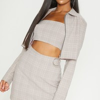 Mocha Check Ring Pull Zip Detail Crop Jacket