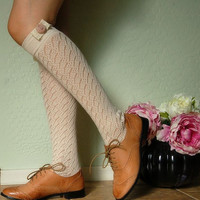 Beautiful vintage style  socks , boots socks.cream  lace socks, soft cotton socks,light beige socks
