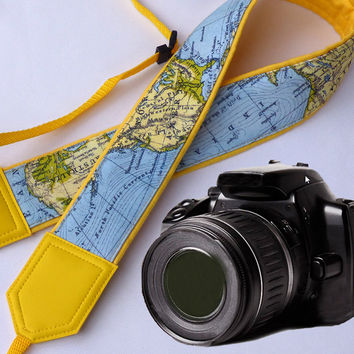 Yellow World Map Camera Strap. Camera strap. DSLR / SLR Camera Strap. For Sony, canon, nikon, panasonic, fuji and other cameras.