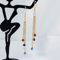 Red White & Blue Swarovski Crystal Dangle Earrings - Drop Earring - USA - Chain