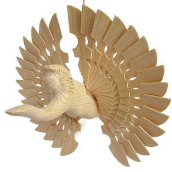 Wooden Angel, Fan Carved Angel Wings One Of A Kind Mobile, Wedding Art Décor, Anniversary Gift Craft, Unique Hanging Christening Woodworking